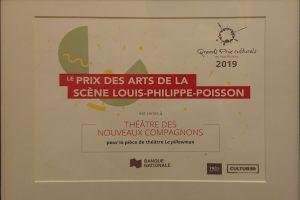 Plaque certifiant le prix des arts de la scène